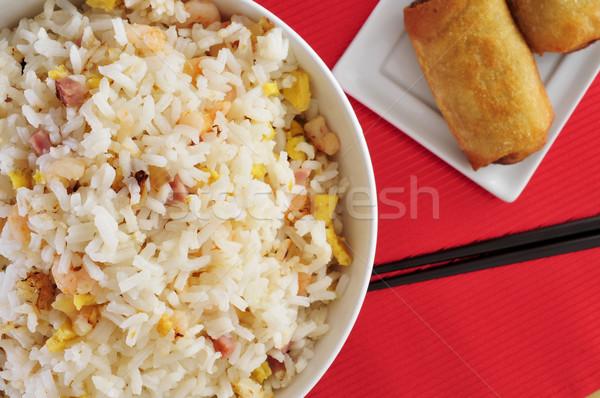 Kínai sült rizs közelkép tál étvágygerjesztő Stock fotó © nito