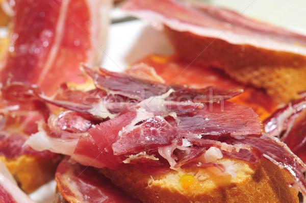 Ekmek İspanyolca serrano jambon dilimleri hizmet Stok fotoğraf © nito