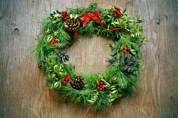 christmas wreath on a rustic door Stock photo © nito