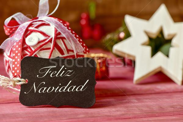 Merry Christmas In Spanish.Text Feliz Navidad Merry Christmas In Spanish Stock Photo