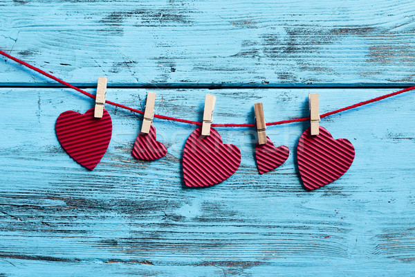 red hearts hanging in a clothes line Stock photo © nito