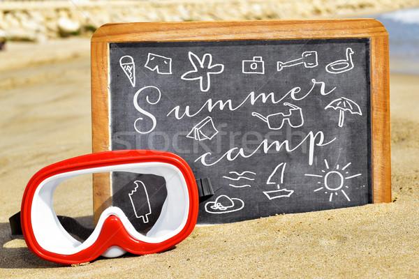 Metin yaz kampı kara tahta plaj çizimler yaz Stok fotoğraf © nito
