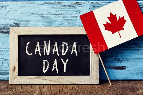 Szöveg Kanada nap zászló írott tábla Stock fotó © nito
