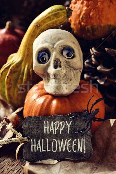 Schedel pompoenen tekst gelukkig halloween Stockfoto © nito