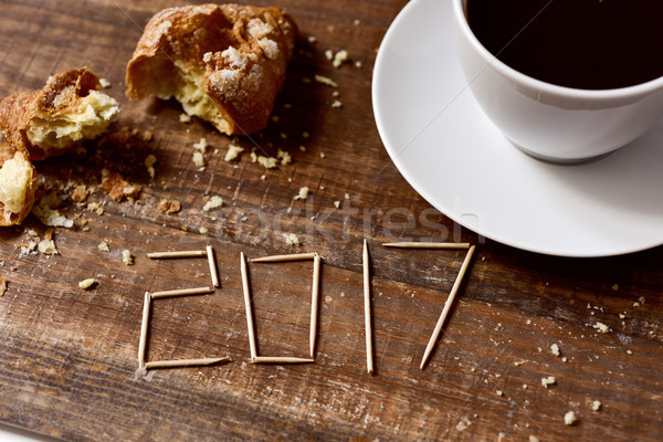 croissant, coffee and number 2017, as the new year Stock photo © nito