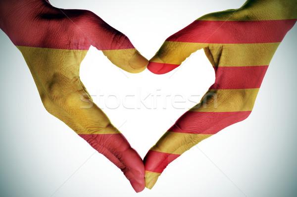 сердце испанский флагами рук Испания Сток-фото © nito