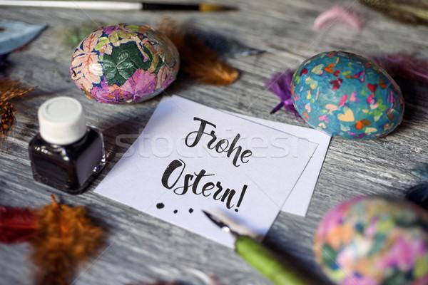 Kellemes húsvétot házi készítésű húsvéti tojások közelkép darab papír Stock fotó © nito
