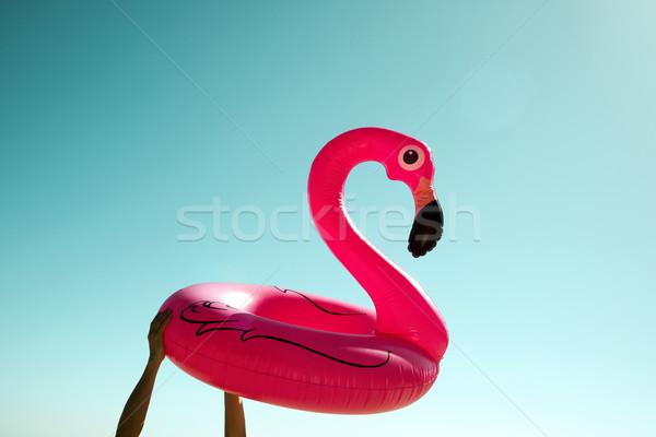 Férfi rózsaszín flamingó úszás gyűrű közelkép Stock fotó © nito