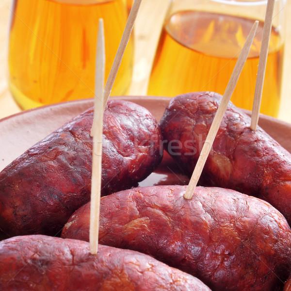 Spaans tapas Rood geserveerd voedsel wijn Stockfoto © nito