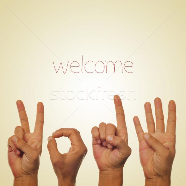 Widziane 2014 słowo ręce numer beżowy Zdjęcia stock © nito