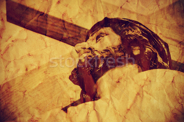 Jesus Christ carrying the Holy Cross, with a retro effect Stock photo © nito