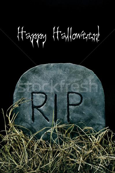 Glücklich Halloween Grab geschrieben weiß Stock foto © nito