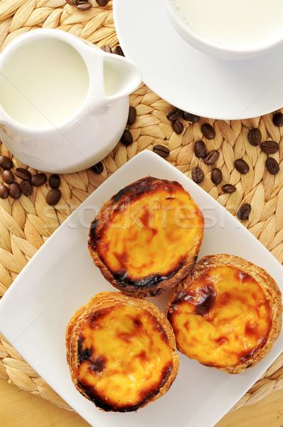 Milch charakteristisch Ei Torte Gebäck jar Stock foto © nito