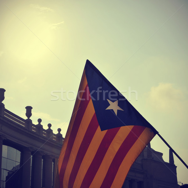 the estelada, the Catalan pro-independence flag, against the sky Stock photo © nito