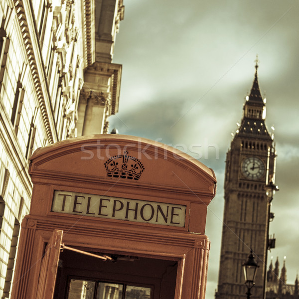 telephone booth and the Big Ben in London, United Kingdom, with  Stock photo © nito