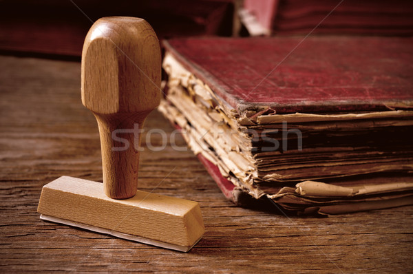 rubber stamp and old book Stock photo © nito