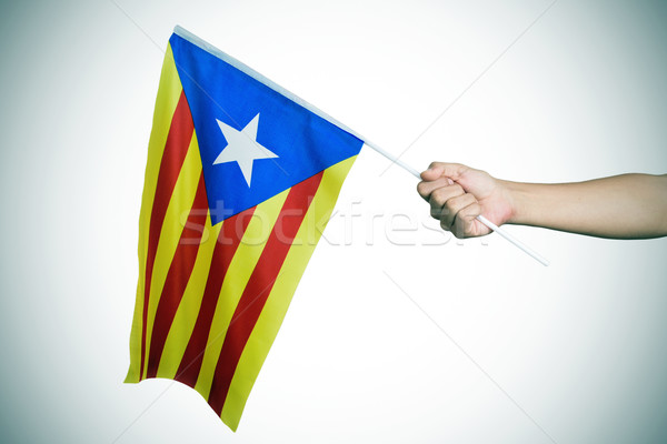 man with the Estelada, the Catalan pro-independence flag, vignet Stock photo © nito