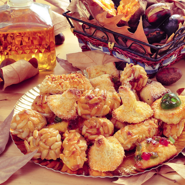 panellets, roasted chestnuts, sweet potatoes and sweet wine, typ Stock photo © nito