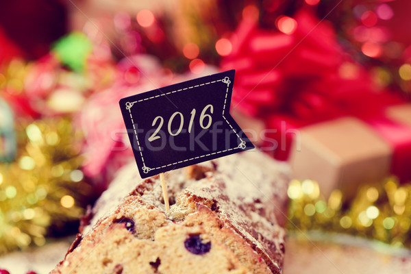 fruitcake with a flag with the number 2016, as the new year Stock photo © nito