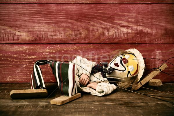 öreg marionett fából készült felület arc festett Stock fotó © nito
