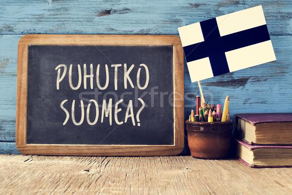 question do you speak Finnish? written in Finnish Stock photo © nito