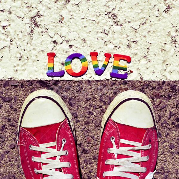 Férfi aszfalt szó szeretet közelkép láb Stock fotó © nito