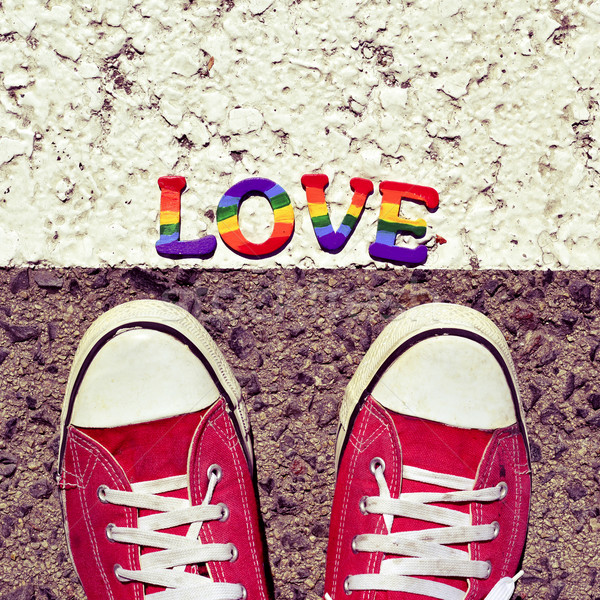 Man asfalt woord liefde voeten Stockfoto © nito