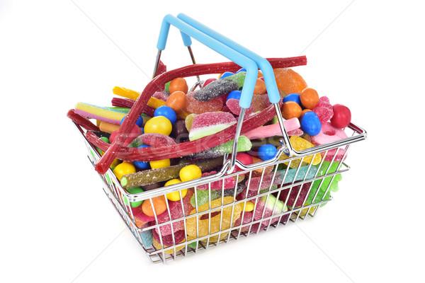 Cukorkák bevásárlókosár fém tele különböző formák Stock fotó © nito