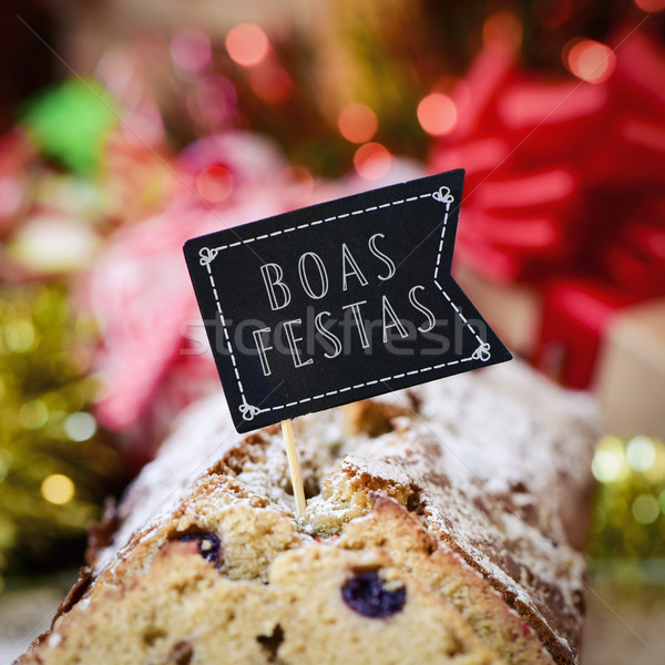 text boas festas, happy holidays in portuguese Stock photo © nito