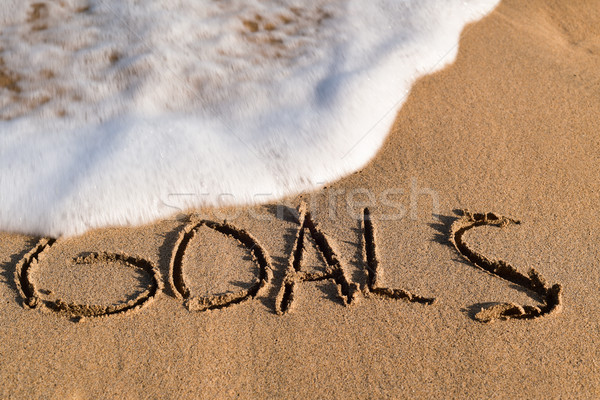 word goals in the sand of a beach Stock photo © nito
