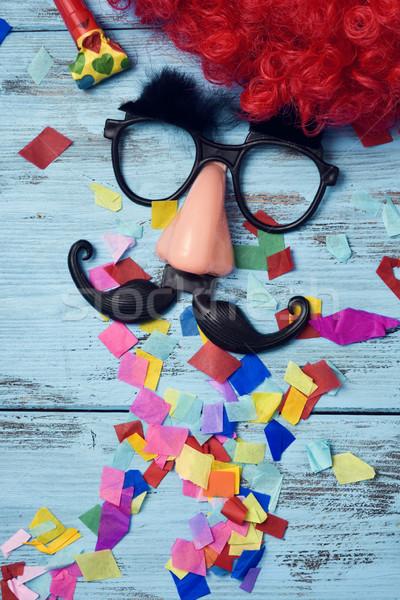 Falsificação óculos nariz bigode vermelho peruca Foto stock © nito