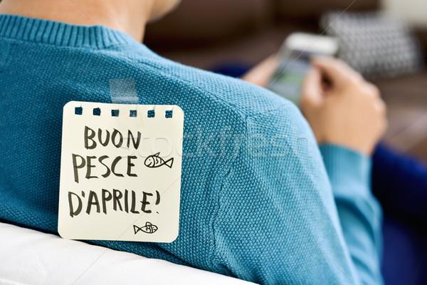 buon pesce d aprile, happy april fools day in italian Stock photo © nito