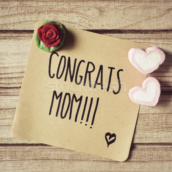 text congrats mom in a note Stock photo © nito