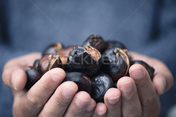 man with roasted chestnuts in his hands Stock photo © nito