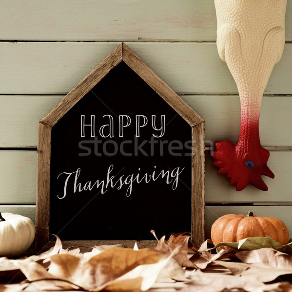 plucked turkey and text happy thanksgiving Stock photo © nito