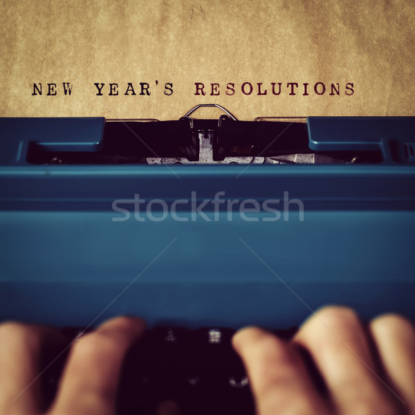 text new years resolutions written with typewriter Stock photo © nito