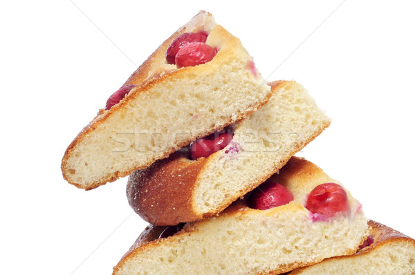 coca amb cireres, typical cake of Catalonia, Spain, with cherrie Stock photo © nito