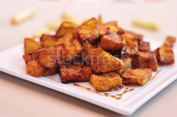 spanish berenjenas con miel de cana, fried eggplants with molass Stock photo © nito