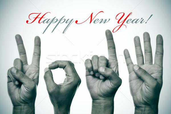 с Новым годом 2014 рук числа вечеринка дизайна Сток-фото © nito