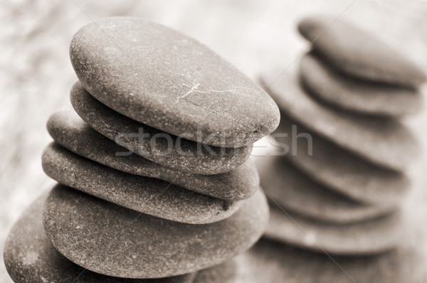 バランスのとれた 石 古い 木製 表面 テクスチャ ストックフォト © nito