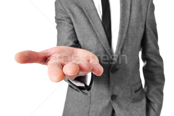 man in suit with his hand open Stock photo © nito