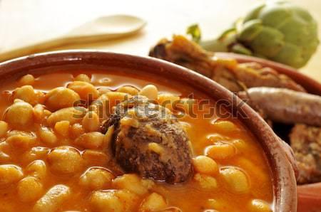 Tradicional espanhol ensopado comida casa foto - Potaje de garbanzos y judias ...