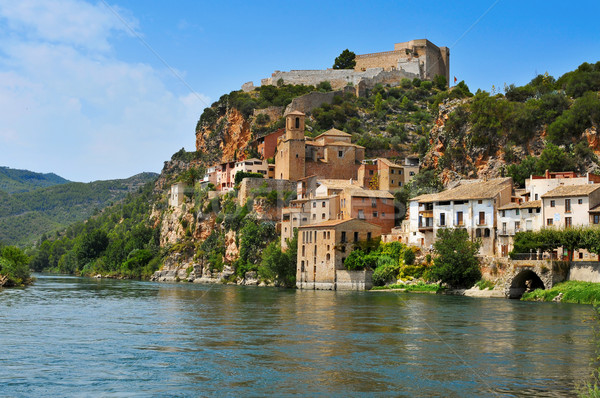 the Ebro River and the old town of Miravet, Spain Stock photo © nito