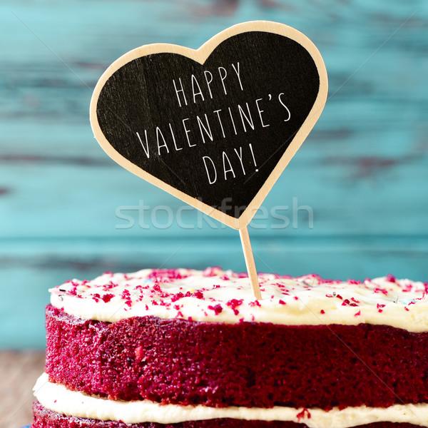 Stok fotoğraf: Kek · metin · mutlu · sevgililer · günü · kırmızı