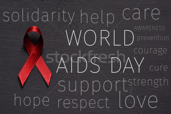 red ribbon and text world aids day Stock photo © nito