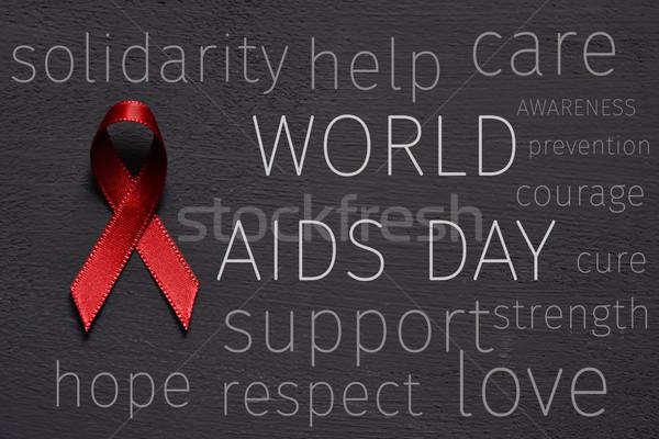 Vörös szalag szöveg világ AIDS nap verekedés Stock fotó © nito