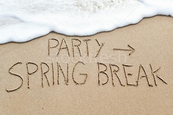 Szöveg buli tavaszi szünet tengerpart közelkép nyíl jelzés Stock fotó © nito
