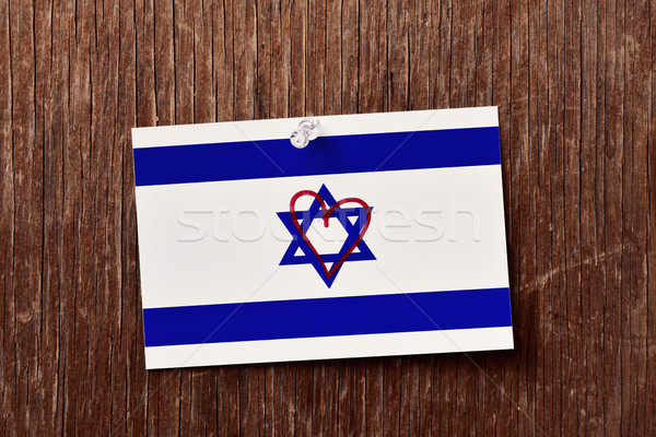 flag of israel with a heart drawn in it Stock photo © nito