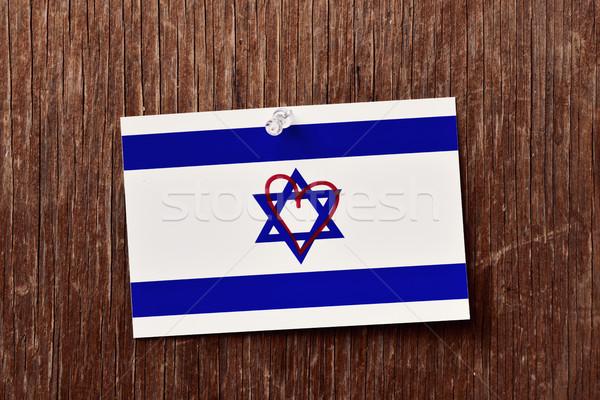 Vlag hart rustiek houten Stockfoto © nito