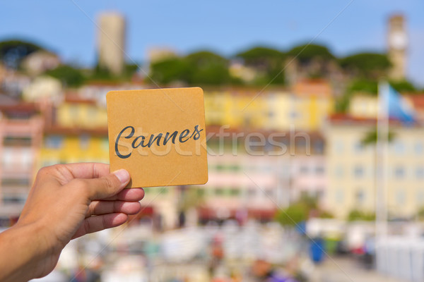 word Cannes in the Vieux Port in Cannes, France Stock photo © nito